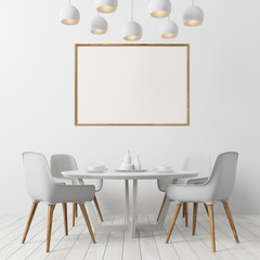 White floor dining room, white chairs