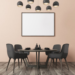 Beige wall dining room, black chairs