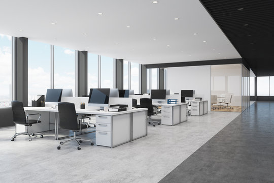 White and black open space office side