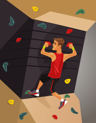 Climbing machine simulator. Vector flat cartoon illustration