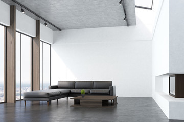 White living room with a sofa, side