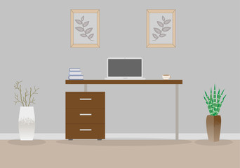 Office in loft style on a gray background. Vector illustration. Table with drawers,decorative branches and a succulent in the beautiful vases floor, cute paintings. Cup with coffee, laptop, books