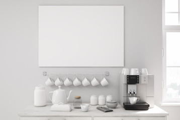 Gray kitchen, white table and a coffee machine