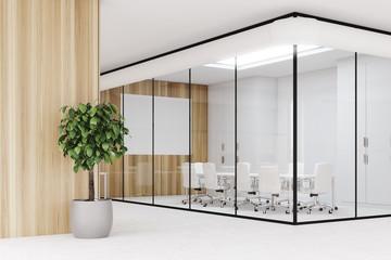 Wooden office aquarium conference room, corner