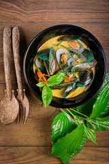 Delicious asian style curry mussels
