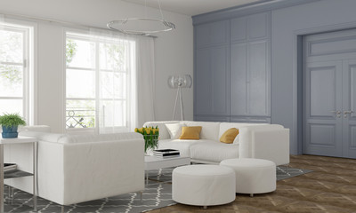Living room with blue wall