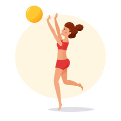 Girl playing beach volleyball.