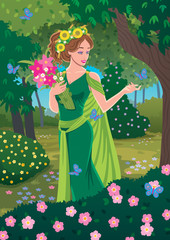 Demeter / Greek goddess Demeter bringing spring in the forest.