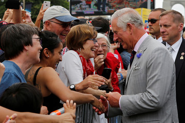 Britain's Prince Charles greets crowds outside the National Arts Centre in Ottawa
