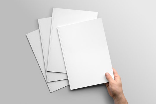 Blank A4 photorealistic brochure mockup on light grey background.