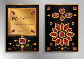 Vintage invitation cards with jewelry decor vector