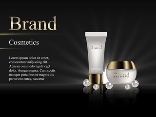 cosmetic cream on a dark background with pearls. Design, advertising, banner, vector realistic 3D