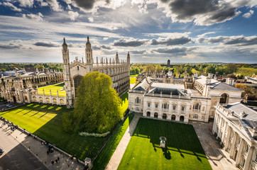 High angle view of the city of Cambridge, UK at beautiful sunny day Wall mural