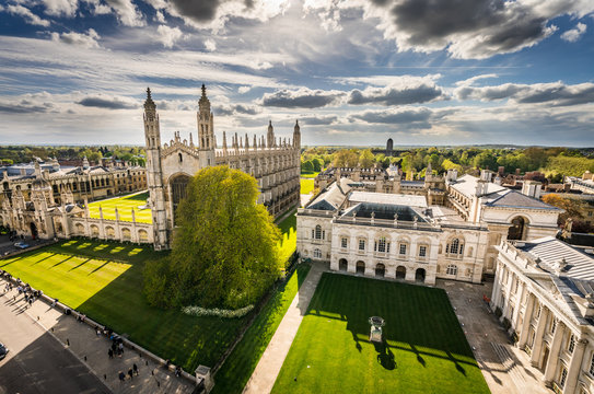 High angle view of the city of Cambridge, UK at beautiful sunny day