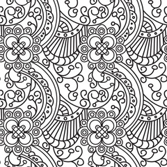 Seamless Pattern Zentangle Ornament Coloring Book Page Design Vector Illustration
