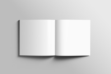 Blank square photorealistic brochure mockup on light grey background.  Fotomurales