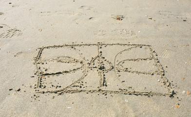 Basket court drawn on the sand beach