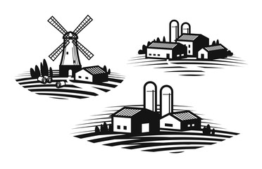 Farm, farming label set. Farmhouse, windmill, agribusiness, agricultural industry icon or logo. Vector illustration