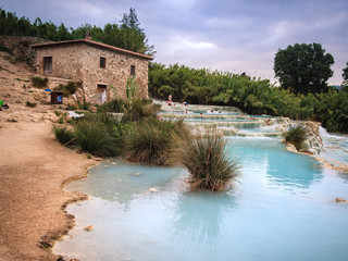 Natural spa with waterfalls in Saturnia, Italy.