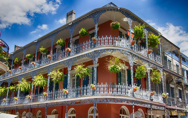 Old Building with Balconies in New Orleans Wall mural