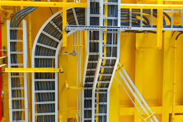 Cable tray with electrical wiring arrange on ceiling at offshore platform