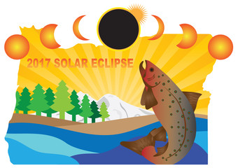 2017 Solar Eclipse Across Oregon Map vector Illustration