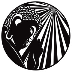 Buddha Raised Hand with Light Rays Circle Black and White vector Illustration