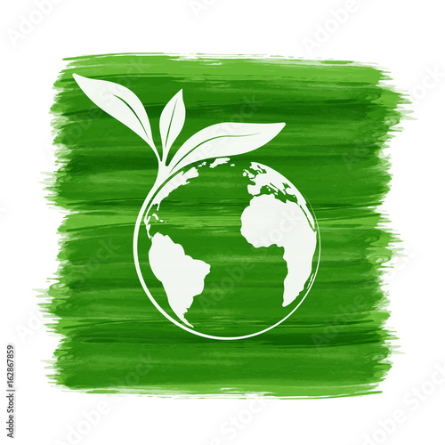 World Environmental Saving And Ecology Friendly Concept With Brush
