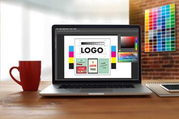 Creative Designer Graphic at work. Color swatch samples, Illustrator Graphic designer working digital tablet and computer