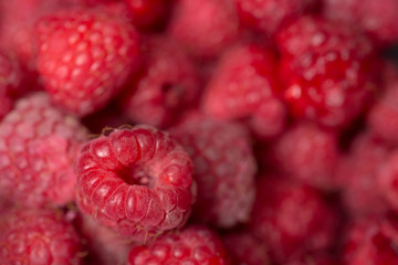 Fresh raspberries background closeup photo