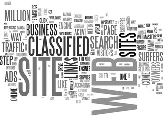 A CLASSIFIED WAY TO DRIVE BUSINESS TO YOUR WEB SITE TEXT WORD CLOUD CONCEPT
