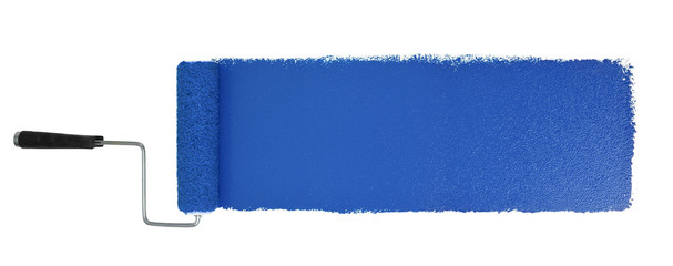 Paint Roller With Logn Blue Stroke