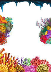 Border template with coral reef underwater