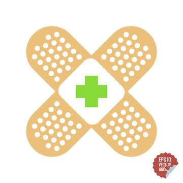 Patch medical flat with red cross. Adhesive band vector icon illustration.
