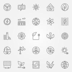 Green energy icons set
