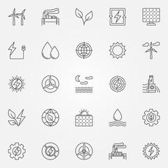 Renewable energy icons set