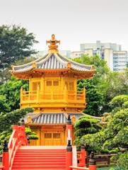 Golden pagoda of Nan lian garden at Chi Lin Nunnery in Hong Kong
