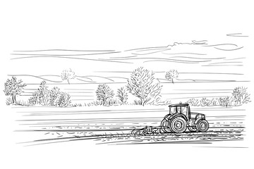 Tractor working in field illustration. Vector.