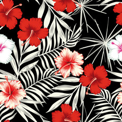 Color hibiscus on the black white leaves seamless background