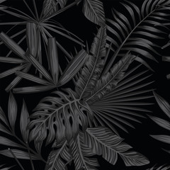 Wall Mural - Tropical seamless pattern in black and white style