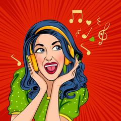Pop art style retro lady listening music in headphone