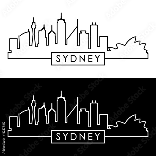 Sydney skyline. Linear style. Editable vector file.