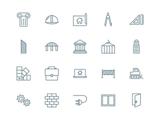 Architecture and construction set of vector icons