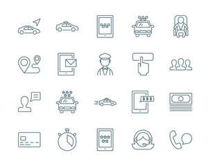 Taxi service set of vector icons