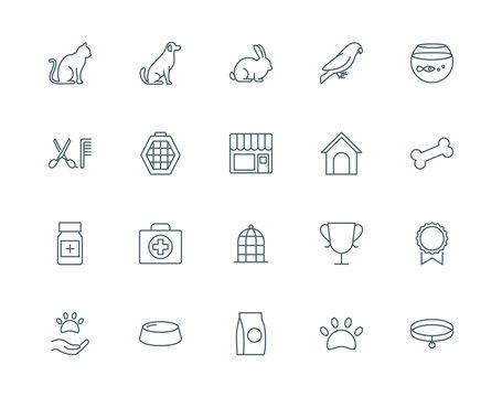 Pet shop set of vector icons