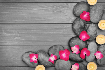 Beautiful spa composition with hydrangea flowers on wooden background