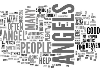 ANGELS IN ART TEXT WORD CLOUD CONCEPT