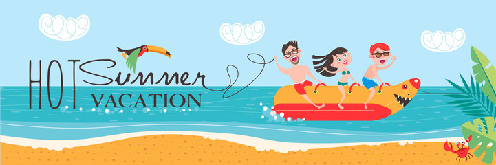 Hot summer vacation! Beach activities, banana boating, swimming in the sea. Vector illustration in flat style.