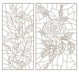 Set contour illustrations in the stained glass style with floral pattern of roses  and Calla lilies , dark outline on a white background