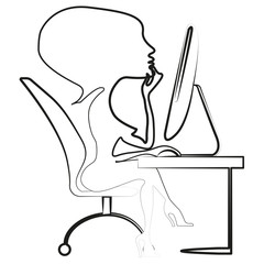 Vector image of a woman working on a computer. The girl who is studying.